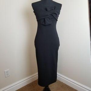 TOPSHOP - bow twist textured Midi dress sz 8